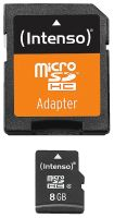 Intenso Micro SD Card 8GB Class 4 inkl. SD Adapter