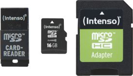 Intenso Micro SD Card 16GB Class 10 inkl. SD + USB Adapter Set