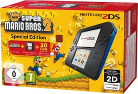 Nintendo 2DS HW Schwarz + New Super Mario Bros.2 2DS Konsole
