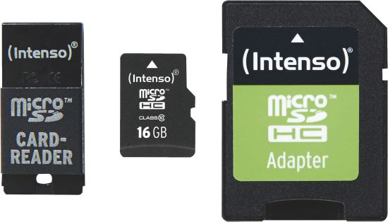 Intenso Micro SD Card 16GB Class 10 inkl. SD + USB Adapter Set_0